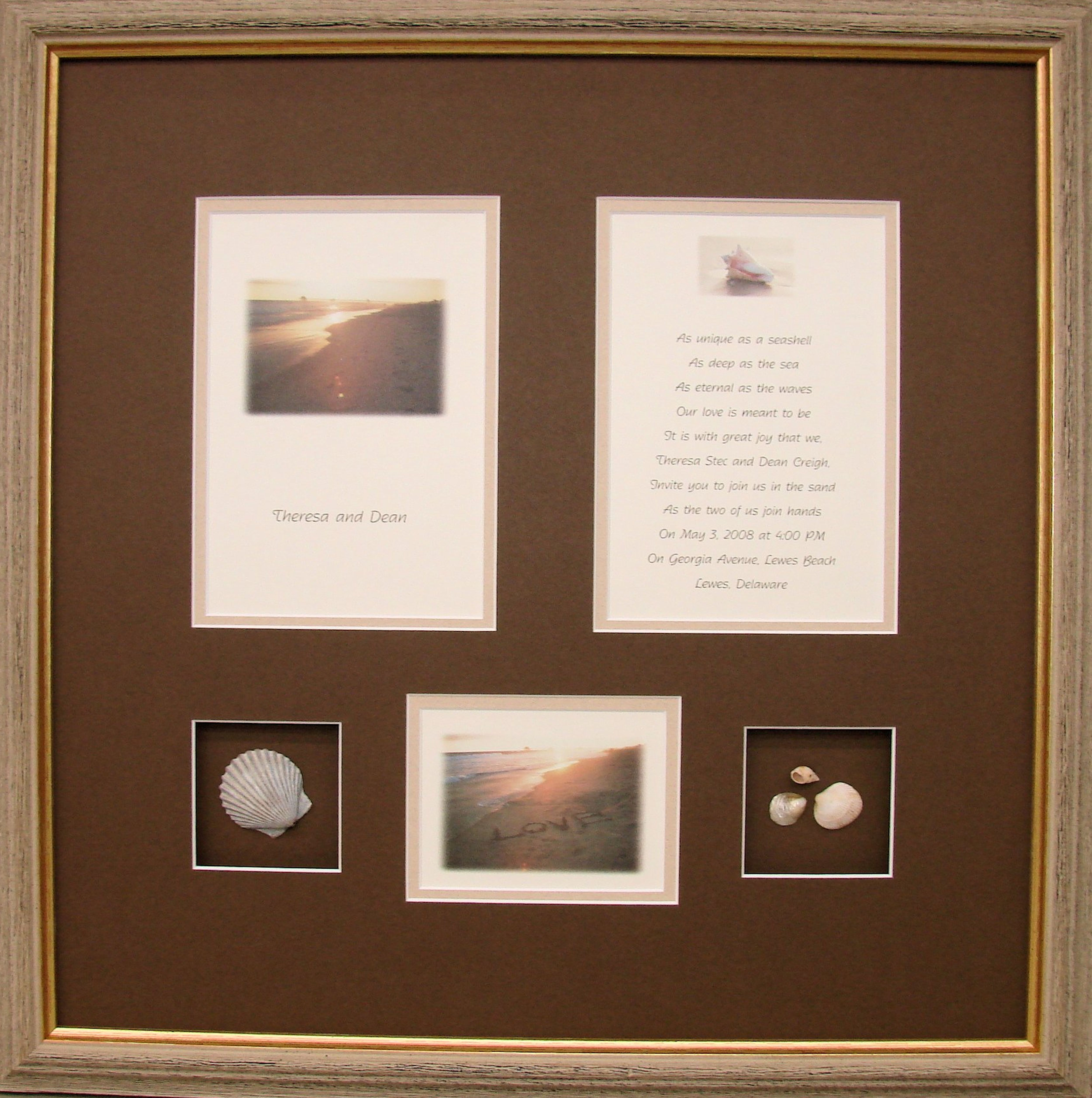 Wedding invitation? Frame it with mementos from the event as a gift for the newlyweds.