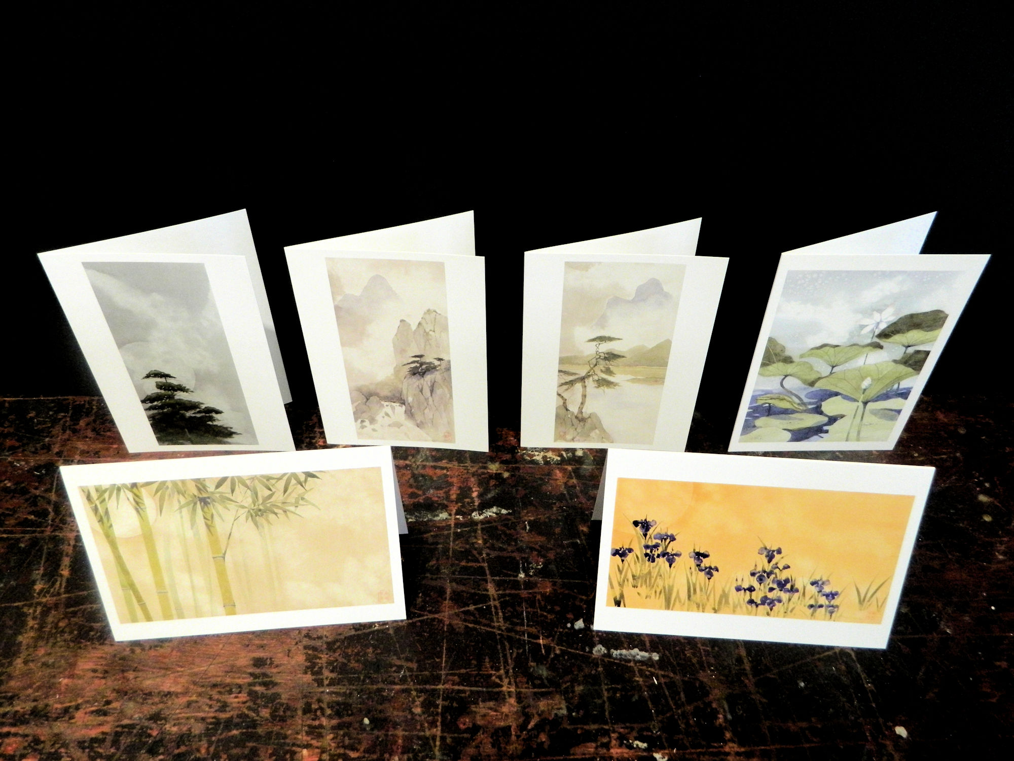 Notecards in this pack: Bamboo | Field Of Iris | Silent Pines | Waterfall | River | Lotus Blossom | 6-pack w/envelopes $18