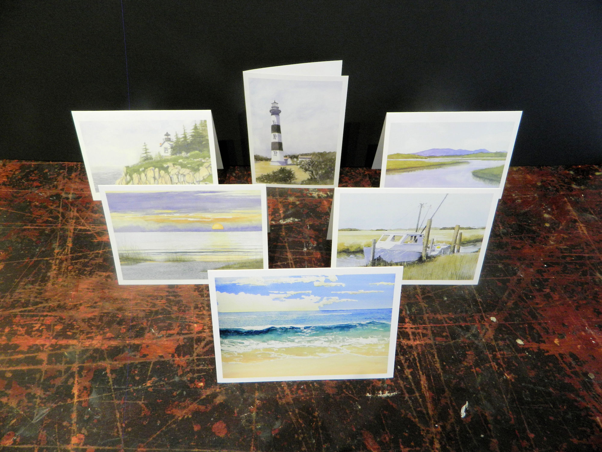 Notecards in this pack: Translucence | Evening Sun | Outer Banks | Bass Harbor Light | Bodie Light | Bass Harbor Inlet | 6-pack w/envelopes $18