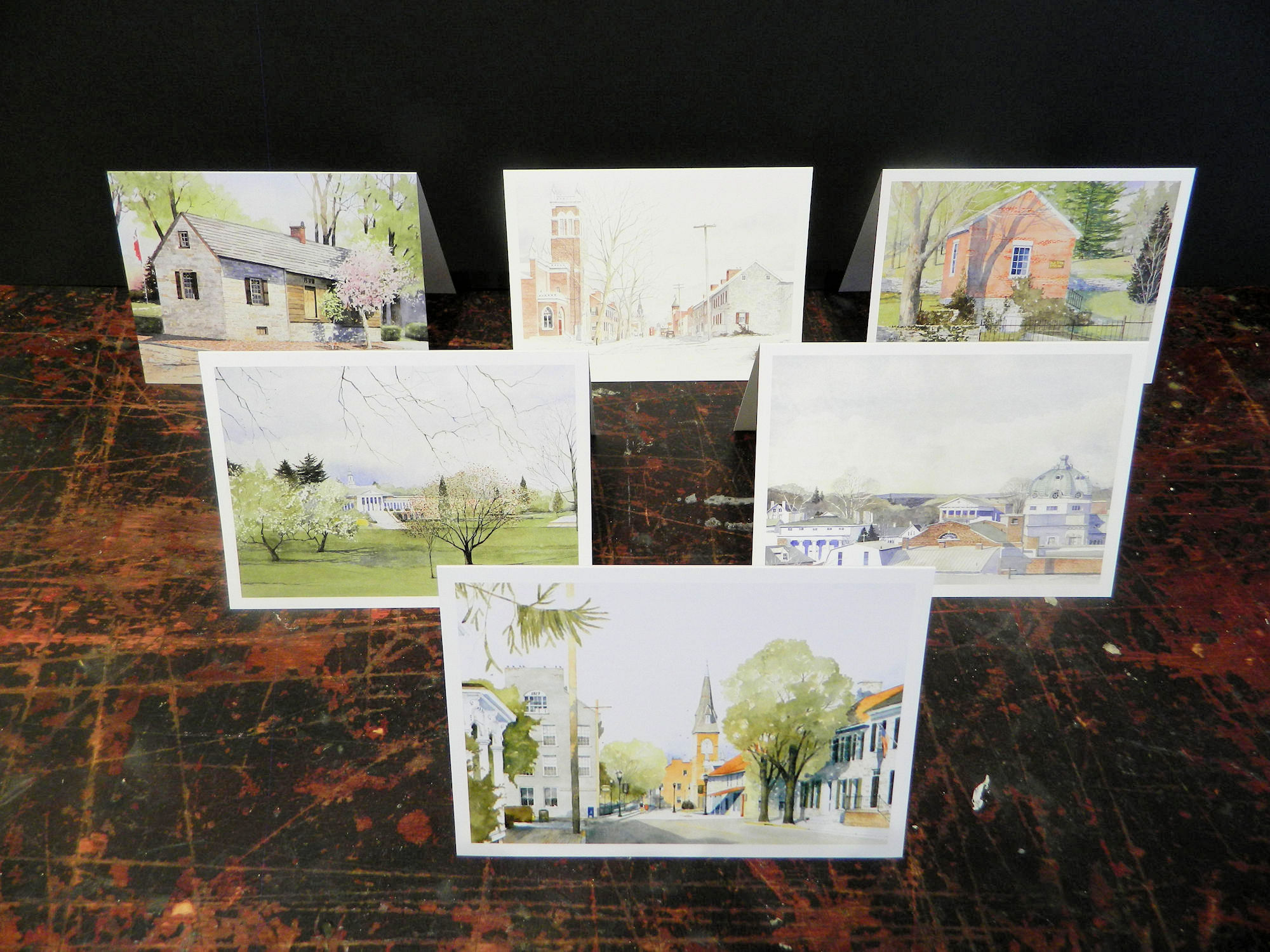 Notecards in this pack: 1827 | Handley High School | Winchester Rooftops II | George Washinton's Office | Water Street | Old Town Spring | 6-pack w/envelopes $18