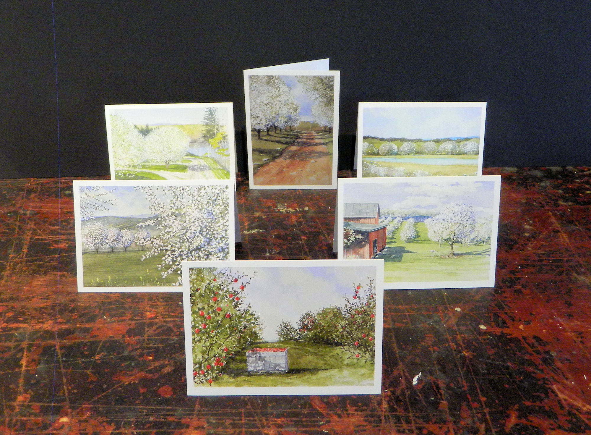 Notecards in the pack: Valley Harvest | Spring in the Valley | Barley's Orchard | Brannon Orchard | The Last Orchard | Wildflowers & Orchard | 6-pack w/envelopes $18