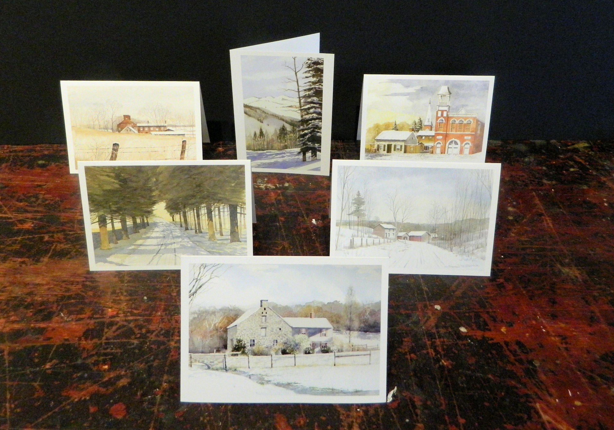 Notecards in this pack: The Mill at Opequon | Cedars of Lebanon | Route 700 | Poorhouse I | Powder | The Way It Was | 6-pack w/envelopes $18